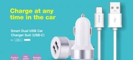 Suit Carica Auto 2 Out e Cavo Dati da Auto USB Tipo C Bianco